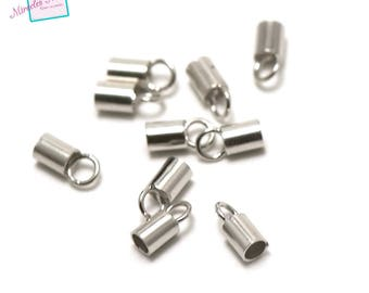2 tubes for cord 2 mm 925 sterling silver