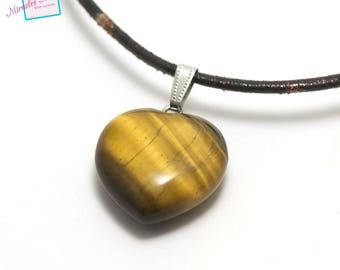 "1 pendant Tiger eye ""heart"" 30 x 30 x 13 mm, natural stone"