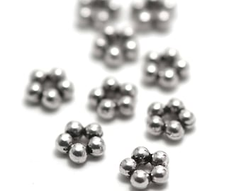 "50 bead ""Pearl Star"", 7 x 3 mm, silver, 042 has"