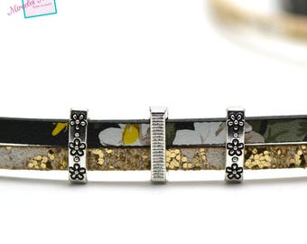 """10 pearls passing/slides for strap leather """"015"""" 15 x 4 x 6 mm, silver"""