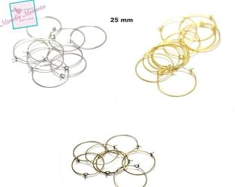 hoop earrings 20 points support earring, Silver/Gold/bronze 25 mm