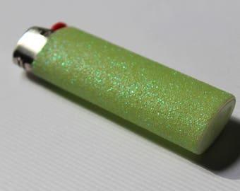 Light Green Glitter BIC Lighter