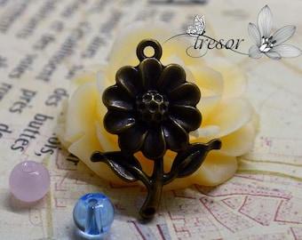 Set of 6 charms, Bronze, sunflower, Fleur QZW007