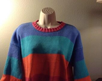Orange, blue and turquoise  Sweater