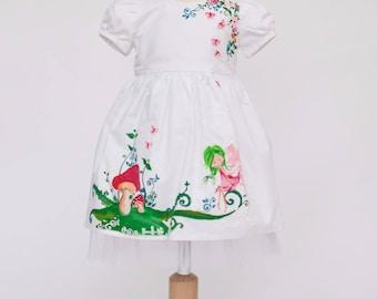 Babygirl dress, Manually Painted dress, White dress, Fairy Tale Dress