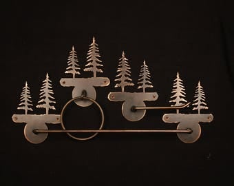 Rustic Tree Towel Bar Set. 3 Piece, Lodge Copper Patena,Made in America.  ALWAYS FREE SHIPPING