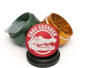 """Croc Crusher 4 Piece Herb Grinder   1.5"""" Inch Weed Grinder   Rasta"""
