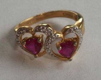 Vintage Sterling Silver 925 Hearts Red Rhinestones Mother'S Ring Size 8