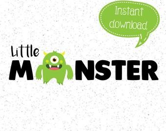 Little Monster SVG, Monster SVGs, Halloween SVG, Halloween Clipart, Cricut Cut File, Silhouette File