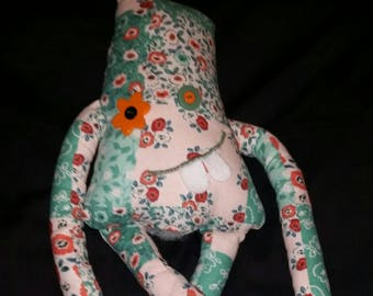 Cali, monster;  handmade; plushie; collectable; gift; calico