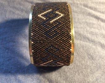 Peyote Cuff Bracelet * brown * black * gold