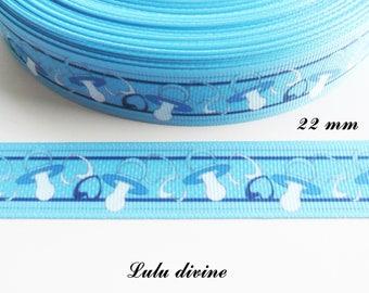 Pacifier Binky pacifier 22 mm blue grosgrain Ribbon sold by 50 cm