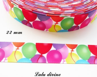 Multicolored ball of 22 mm white grosgrain Ribbon sold by 50 cm