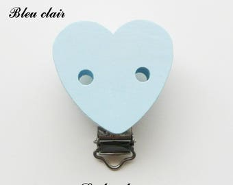 Clamp / Clip wooden heart shaped, pacifier, buckle, light blue