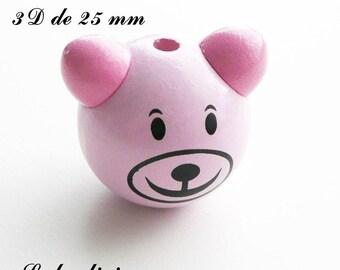 25 mm wooden bead, Pearl 3D Teddy bear head: light pink