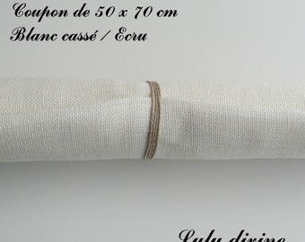 Linen embroidery 12 threads/cm, 50 x 70 cm coupon, off white / Ecru