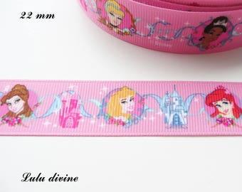 Grosgrain Ribbon pink castle Princess Locket 22 mm sold by 50 cm