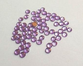 50 half rhinestone paste purple 5mm