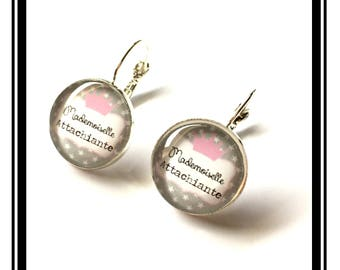 "Earrings original and funny,""Miss Attachiante"" custom, gray, pink, funny """