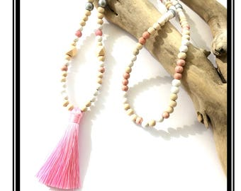 Pink tassel necklace & Pastel multicolor Bohemian boho necklace Tassel Natural zen wood pink silver