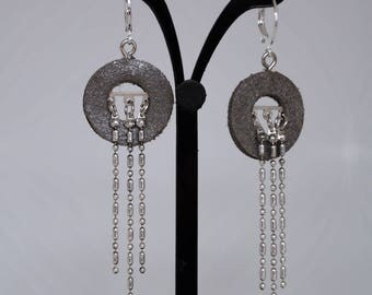 SILVER LEATHER WITH SILVER METAL CHAIN DROP EARRINGS