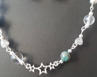 Beaded bracelet with apatite and rock crystal