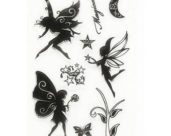 Silicone - clear Stamp - fairy Theme stamps / Nature / Flowers - clear stamp plate