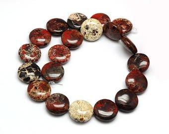 10 round and flat Jasper beads bréchite – bréchite Jasper gemstone bead - stone japse semi precious round and flat