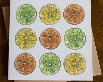 Citrus Fruit Illustration Greetings Card