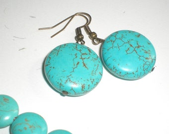 """Howlite Turquoise"" earrings"