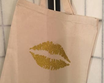 Natural Cotton Canvas Tote Glitter Gold Lips Work Office Home Reusable Multipurpose Bag