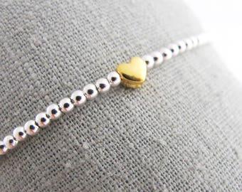Golden Ball bracelet heart 925 Silver