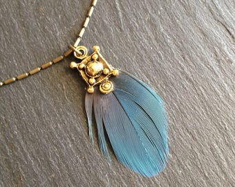 ethnic Necklace blue exotic natural rare feather