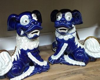 Large Blue Foo Dogs