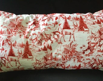Red and White Toile Decorative Lumbar Pillow, Christmas Pillow