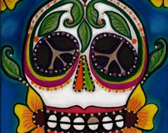Day of the Dead Dias de los Muertos Sugar Skull Skeleton Art Sugar Skull Paintings Mexican Folk Art