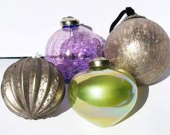 Set of 4 Large Glass Ornaments - Christmas Tree glass ornaments decorations Silver grey purple green - Christmas decor