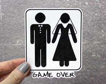 Game Over Marriage Stickers Funny Wedding Humor Getting Married Bride & Groom Sticker 0024