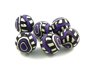 Fimo beads 10 X purple 15mm