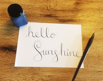 A5 Calligraphy Art 'Hello Sunshine' Positive Quote, Wall Art, Home Decor, Inspirational Quote, Gift,