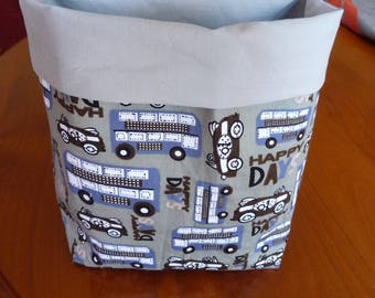 Tidy boy bus/car pattern fabric