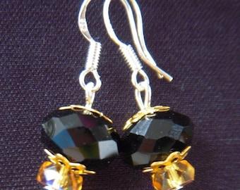 Very nice pair of swarovski black crystal swarovski crystal earrings