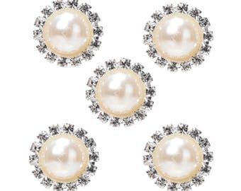 Round rhinestone with Pearl buttons round 2cm