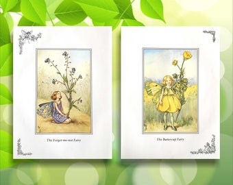 Buttercup and Forget-me-not Flower Fairy Print from vintage book. Woodland Fairies Nursery themed gift for girl. Illustration for framing