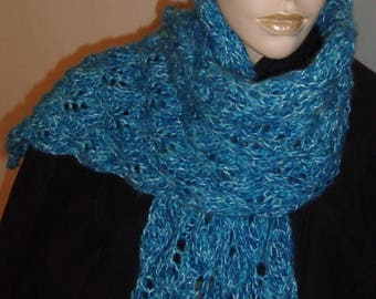Blue lace hand knitted scarf