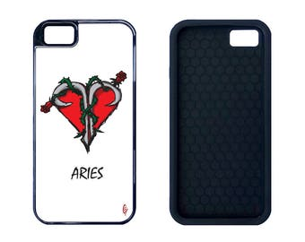 """Astrology Design Series """"Aries"""" Rubber or Plastic Case for Galaxy S8, Shock-Proof Hybrid iPhone 5, 5C, 6, 6 Plus, 7 and 7 Plus"""