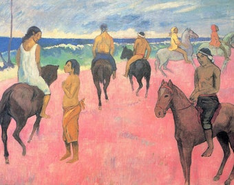 ORIGINAL design, durable and WASHABLE PLACEMAT - Paul Gauguin - riders on the beach - classic.