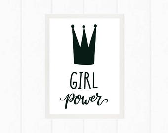 Girl Power Wall Art, Girlpower, Girl Power Art, Empowering Girls Art, Nursery Wall Art, Girl Power Quote, Girls Room Decor
