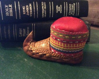 Vintage Leather Moccasin Pin Cushin