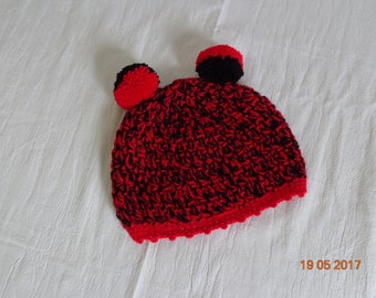 WOOL red and black, made crochet baby Hat